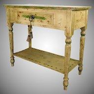 Quality Stickley Audi Bought Hand Painted Distressed Single Drawer Country 2 tiered Sideboard Table c1990s