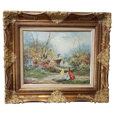 """20th Century Framed Oil On Canvas Painting """"Prominad"""" sgnd Marie Charlot"""