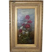 Antique 19th Century Oil On Canvas Gilt Framed Still Life Floral Painting ~ Unsigned  ~ 16 3/4 X 25 3/4
