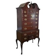 Drexel Heritage Mahogany Queen Anne Style 2 Part Highboy Chest Of Drawers