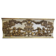Antique Italian 19th Century Carved Wood Gilded Cherub Putti Panel