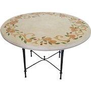 "Contemporary Italian Inlaid Stone Resin Top w/ Iron Base 48"" Kitchen Table"