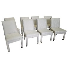 Set 8 Vintage 1980s Imperial By Selig Fully Upholstered Parsons Style Dining Room Chairs