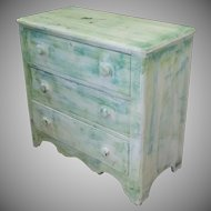 Antique Custom Distressed Painted 3 Drawer Country Chest Of Drawers c1860