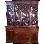 Very Good 1940s Inlaid & Banded Mahogany Living Room Breakfront China Cabinet ~ AS IS ~