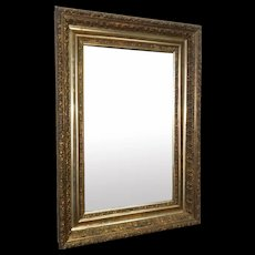 Antique Victorian 19th Century Gilded Gold Leaf Rectangular Hanging Wall Mirror c1880s