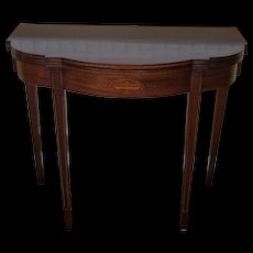 Mahogany Sheraton Style Paine Furniture Flip Top Console Hallway Table c1940s
