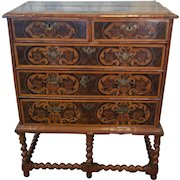 William & Mary Walnut Marquetry Chest Of Drawers On Stand Late 17th Century