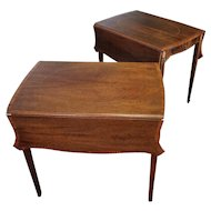 Pair Inlaid & Banded Mahogany American Federal Hepplewhite Style Pembroke Drop Leaf Tables c1950