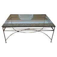 Large Contemporary Glass Top Gilded Metal Base Cocktail Coffee Table 52 X 36