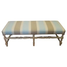 Beautiful White Washed Brunschwig & Fils Upholstered Country Style Turned Leg Bench