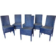 Set 6 Blue Janus Et Cie Deauville II Outdoor Wicker Dining Room Side Chairs