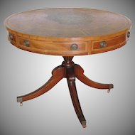 Quality Vintage 1940s Banded Mahogany Tooled Leather Top Living Room Pedestal Drum Table