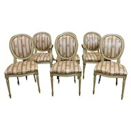 Set 6 Painted Framed 1960s French Louis XVI Dining Room Chairs