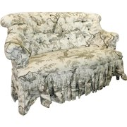 Very Fine Brunschwig & Fils Upholstered Tufted French Style Bedroom Loveseat