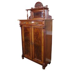 Antique 19th Century American Victorian Renaissance Burl Walnut Tall Cabinet c1880