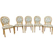 Set 5 White Washed Maple French Louis XVI Style Dining Room Chairs c1980s