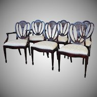 Set 6 Hickory White Shield Back Mahogany Sheraton Style Dining Room Chairs