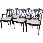 Set 6 Hickory White Shield Back Mahogany Sheraton Style Dining Room Chairs