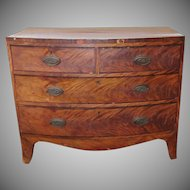 Antique Banded Mahogany Late 18th Century English Georgian Bow Front Chest Of Drawers