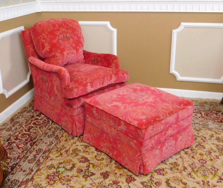 Fantastic Recently Upholstered Pink Patterned Silk Down Mix Bedroom Chair U0026  Ottoman