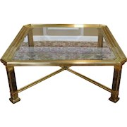 1980s Contemporary Brass & Glass Square Coffee Table  40 X 40