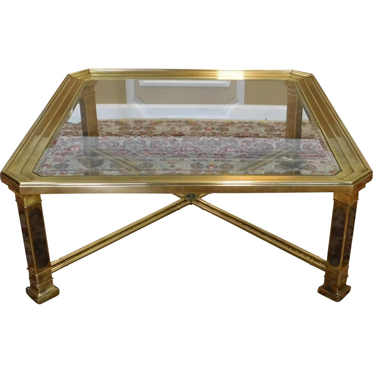 40 Metal Square Coffee Tables: 1980s Contemporary Brass & Glass Square Coffee Table 40 X