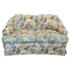 1980s Contemporary Overstuffed Upholstered Floral Sherrill Furniture Loveseat