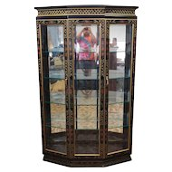 Black Lacquered Asian Inspired Dining Room Display China Cabinet c1980