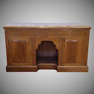 Antique English Georgian Banded Inlaid Mahogany Dining Room Buffet Credenza Cabinet c1880