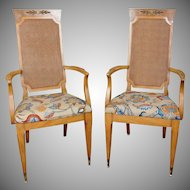 Pair 1970s Caned Back Fruitwood & Elm Dining Room Armchairs