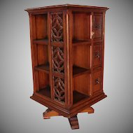 Antique 19th Century Gothic Victorian Oak Revolving Library Bookcase Cabinet c1890