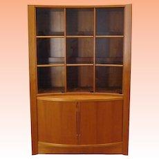 1970s Danish Modern Teak Bow Front Tambour & Glass Door China Cabinet