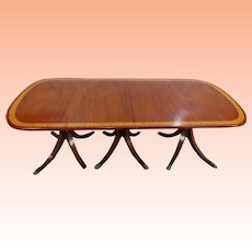 Large Antique Banded Mahogany Triple Pedestal Dining Room Table w/ 1 Leaf c1900