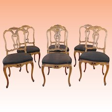 Set 6 Fruitwood Continental Craftsmen NY French Country Dining Room Chairs c1950s