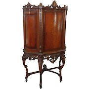 Antique Inlaid & Carved Walnut French Closed Door Cabinet c1900