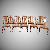 Set Of 10 1990s Walnut Queen Anne Style Dining Room Chairs
