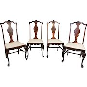 Set 4 1920s Walnut Dining Room Side Chairs ~ AS IS ~ Need Paint Or Refinishing ~