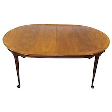 Decent 1980s Banded Walnut & Elm Dining Room Table w/ 2 Leaves ~ AS IS ~