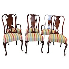 Set 1980s 6 Cherry Queen Anne Dining Room Chairs
