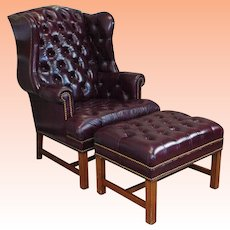 1990s Reproduction English Tufted Leather Wingback Armchair w/ Ottoman