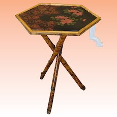 Japanese Rattan Chinoiserie Lacquered Hand Painted Side Table c1990s.