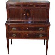 Antique 19th Century Inlaid Mahogany Hepplewhite Tambour Ladies Writing Desk c1890