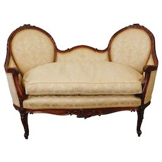 Very Fine 1950s French Louis Style Carved Walnut Living Room Loveseat Settee