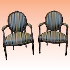 Fine Pair 1950s French Louis XVI Carved Walnut Armchairs