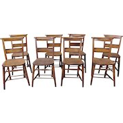 Set 8 Antique 19th Century Primitive Chestnut & Pine Church ~ Chapel Chairs