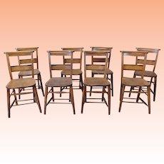 Set 8 Antique 19th Century Primitive Chestnut & Pine Church ~ Chapel Chairs