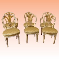 Set 6 Bethlehem Furn. 1930s Shabby Chic ~ Hollywood Regency Fleur-De-Lis  Paint Decorated Dining Room Chairs