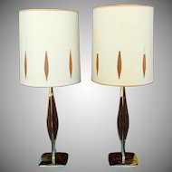 Pair Mid Century 1950s Laurel Lamp Company Brass & Walnut Table Lamps w/ Original Shades