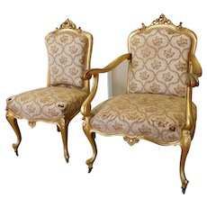 Set 2 Antique 19th Century French Rococo Louis XVI Style Gilt Parlor Chairs